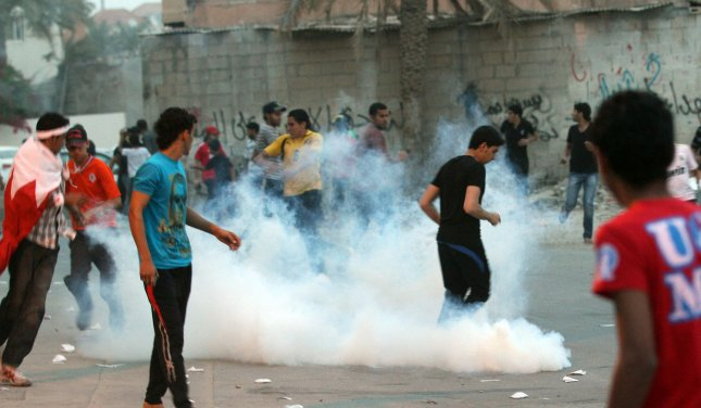 Anti-government protesters in Diraz, Bahrain, west of the capital of Manama on April 21, 2012. Photo by Khaled Jawhar/UPI.