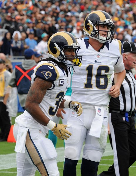 Los Angeles Rams quarterback Jared Goff (16) and running back Todd Gurley were crucial in Sunday's easy win over the Indianapolis Colts. Photo by Jon SooHoo/UPI