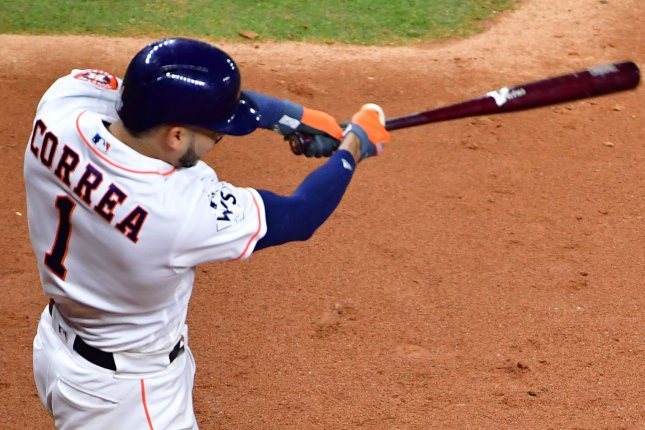Houston Astros' Carlos Correa. File photo by Kevin Dietsch/UPI