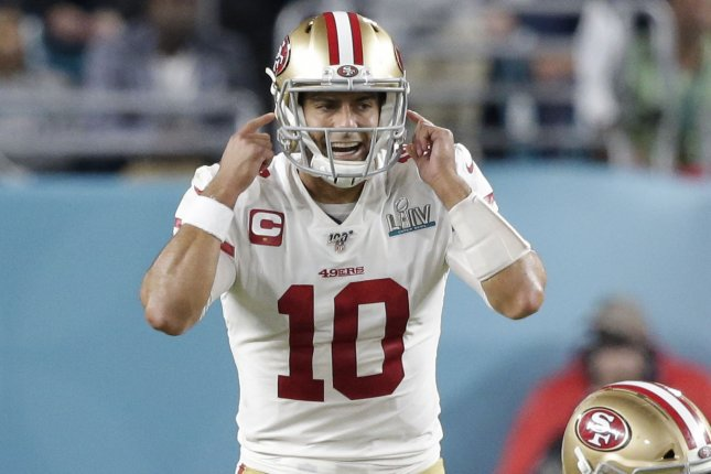 San Francisco 49ers GM John Lynch said the team kept Jimmy Garoppolo (10) in the loop as it had internal discussions about free agent quarterback Tom Brady. File Photo by John Angelillo/UPI