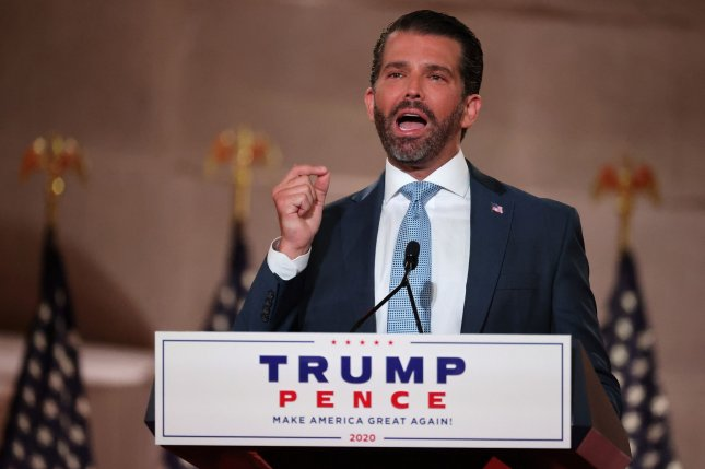 Donald Trump Jr. pre-records his address to the Republican National Convention at the Mellon Auditorium on Monday, August 24, 2020 in Washington, DC. The novel coronavirus pandemic has forced the Republican Party to move away from an in-person convention to a televised format, similar to the Democratic Party's convention a week earlier. Pool Photo by Chip Somodevilla/UPI