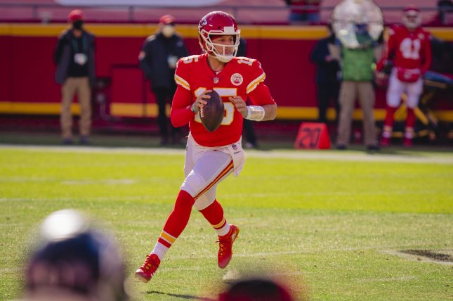 Kansas City Chiefs quarterback Patrick Mahomes was knocked out of last week's divisional-round win over the Cleveland Browns in the third quarter. File Photo by Kyle Rivas/UPI