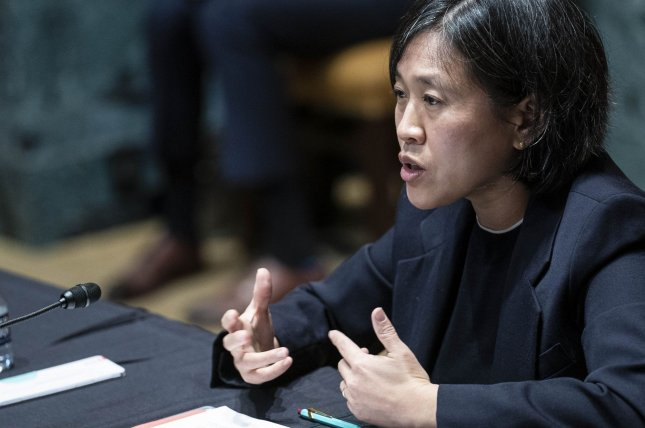 U.S. Trade Representative Katherine Tai said Wednesday that the United States supports waiving intellectual property protection for COVID-19 vaccines and will work with the World Trade Organization to make it happen.File Pool Photo by Sarah Silbiger/UPI