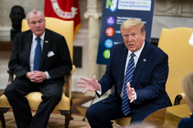 Then-President Donald Trump speaks during a meeting with Democratic New Jersey Gov. Phil Murphy in the Oval Office of the White House on April 30, 2020. File Photo by Doug Mills/UPI