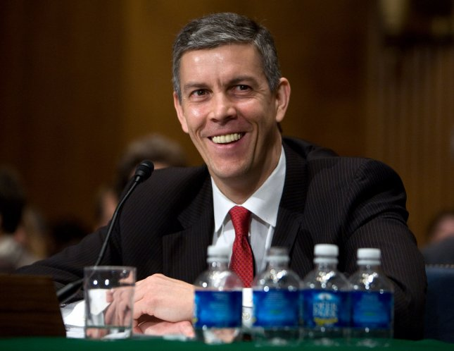 Secretary of Education nominee Arne Duncan testifies at his confirmation hearing before the Senate Health and Education Committee on Capitol Hill in Washington on Tuesday, Jan. 13, 2009. (UPI Photo/David Brody)