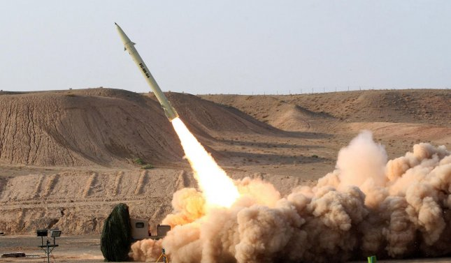 An upgraded version of the short-range surface-to-surface Fateh-110 missile is test fired on August 25, 2010, in this photo released by the Iranian Defense Ministry. Fateh means conqueror. The locations was not disclosed. UPI/Vahid Reza Alaei/ Iranian Defense Ministry