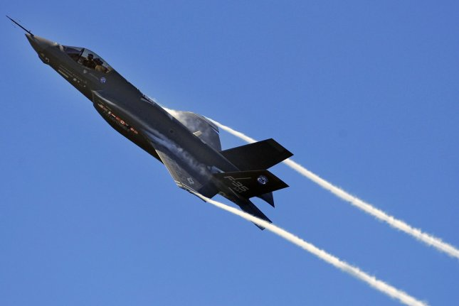 An F-35 Lightning II Joint Strike Fighter test aircraft banks over the flightline at Eglin Air Force Base, Florida, on April 23, 2009. On February 13, 2015 at the Air Force Association's annual Air Warfare Symposium and Technology Exposition in Orlando, Fla., Secretary of the Air Force Deborah James said the initial operating capability of the fighter was getting closer, but maintainers were still needed to stay on track. File photo by Julianne Showalter/US Air Force/UPI