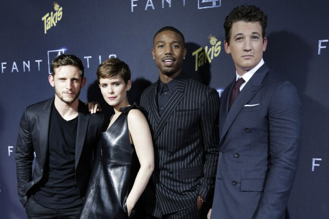 Actors Jamie Bell, Kate Mara, Michael B. Jordan, and Miles Teller arrive on the red carpet at the Fantastic Four premiere at the Williamsburg Cinemas in New York City, August 4, 2015. The film, which opened nationwide Friday, got off to a slow start and was expected by analysts to make about $28 million in its debut weekend. Photo: John Angelillo/UPI