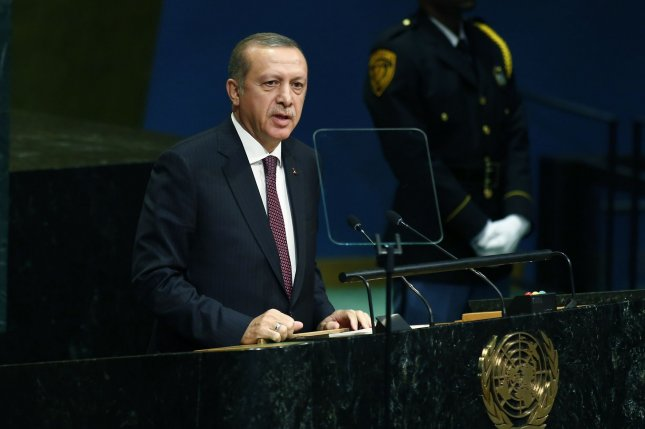 Turkish President Recep Tayyip Erdogan addresses the 71st session of the General Debate of the United Nations General Assembly in New York City on Sept. 20. On Tuesday, Erdogan said his army will fight terrorists in the contested city of Mosul, Iraq, despite resistance from that nation's prime minister, who has said Turkey's presence near the city is illegal. Photo by Monika Graff/UPI