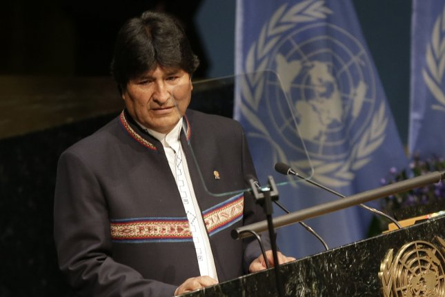 Bolivian President Juan Evo Morales Ayma at the United Nations in New York City on April 22. Morales reporedly flew to Cuba early Friday morning for surgery to remove a small, benign tumor in his larynx. File photo by John Angelillo/UPI
