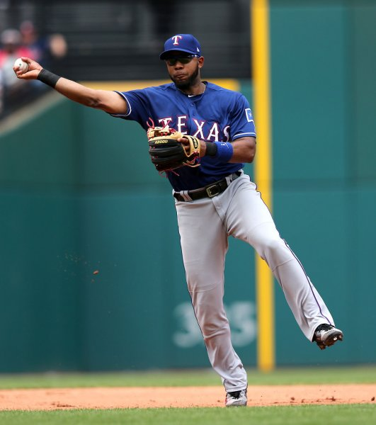 Elvis Andrus and the Texas Rangers held off the Tampa Bay Rays on Saturday. Photo by Aaron Josefczyk/UPI