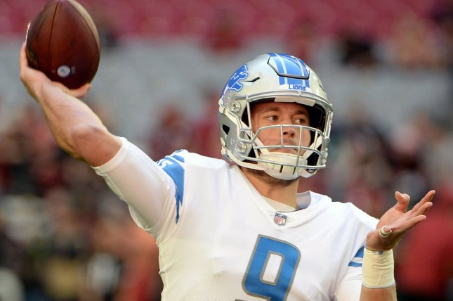 Detroit Lions quarterback Matthew Stafford warms up beforea game against the Arizona Cardinals on December 9, 2018. Photo by Art Foxall/UPI