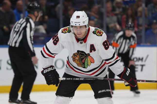 Chicago Blackhawks winger Patrick Kane scored his seventh goal in six games during a loss to the Calgary Flames on Monday in Chicago. Photo by Bill Greenblatt/UPI