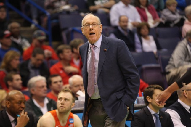 Syracuse head coach Jim Boeheim coached his team to a victory against Louisville before striking and killing a man with his vehicle late Wednesday near downtown Syracuse, N.Y. File Photo by Bill Greenblatt/UPI