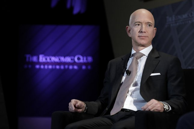 A phone belonging to Amazon founder Jeff Bezos was targeted by a social account linked to Saudi Crown Prince Mohammed bin Salman. File Photo by Yuri Gripas/UPI