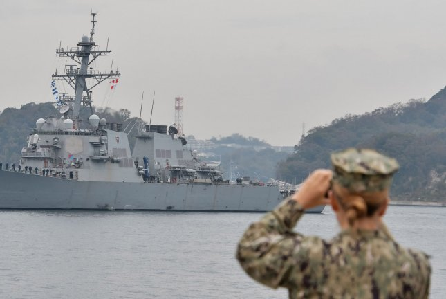 The Arleigh Burke-class destroyer USS John S. McCain arrives in Yokosuka, Japan on November 3, 2019. File Photo by Mori Keizo/UPI