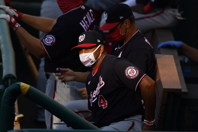 Manager Dave Martinez and the Washington Nationals were scheduled to open the season Thursday, but now don't plan to play until Monday due to positive COVID-19 tests within the franchise. File Photo by Kevin Dietsch/UPI