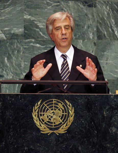 Uruguayan President Tabare Vazquez speaks at the 64th United Nations General Assembly in the UN building in New York City on September 23, 2009. UPI/John Angelillo