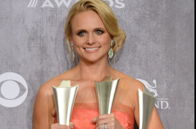 Miranda Lambert appears backstage with the Female Vocalist of the Year, Single Record of the Year and Vocal Event of the Year Awards she garnered during the 49th annual Academy of Country Music Awards held at the MGM Grand Arena in Las Vegas, Nevada on April 6, 2014. The show was broadcast live on CBS. UPI/Jim Ruymen