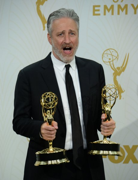 Jon Stewart holds his Emmys for Outstanding Variety Talk Series and Outstanding Writing for a Variety Series at the 67th Primetime Emmy Awards on Sept. 20. The comedian has made a couple appearances on the late night circuit this week. File Photo by Jim Ruymen/UPI