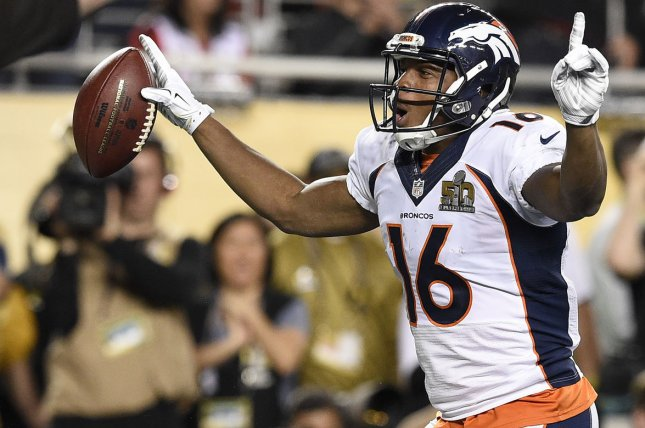 Denver Broncos wide receiver Bennie Fowler celebrates his two-point conversion pass reception against the Carolina Panthers in the fourth quarter of Super Bowl 50 at Levi's Stadium in Santa Clara, Calif. File photo by Brian Kersey/UPI