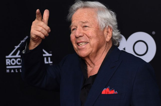 New England Patriots owner Robert Kraft points to fans on the red carpet during the Rock and Roll Hall of Fame induction ceremony on April 14 in Cleveland, Ohio. Photo by Scott McKinney/UPI
