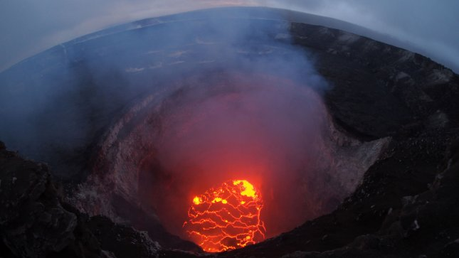 The summit lava lake of the Kilauea Volcano has dropped significantly over the past few days, and on the evening of May 6, was roughly 220m below the crater rim. Photo by USGS/UPI