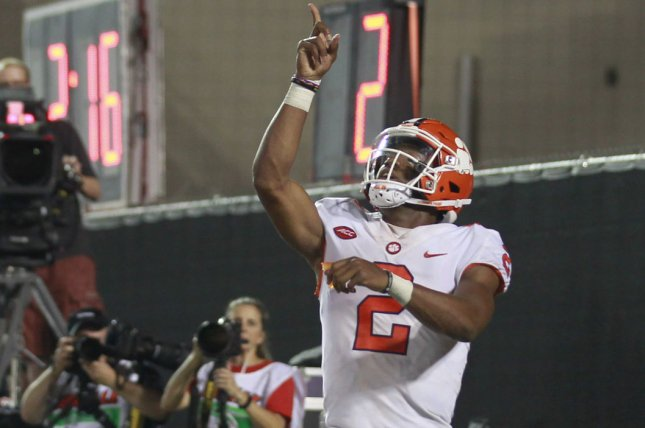 Clemson Tigers quarterback Kelly Bryant (2) celebrates after scoring a touchdown against the Louisville Cardinals during the second half of play on September 16, 2017 at Cardinal Stadium in Louisville, Kentucky. File photo by John Sommers II/UPI