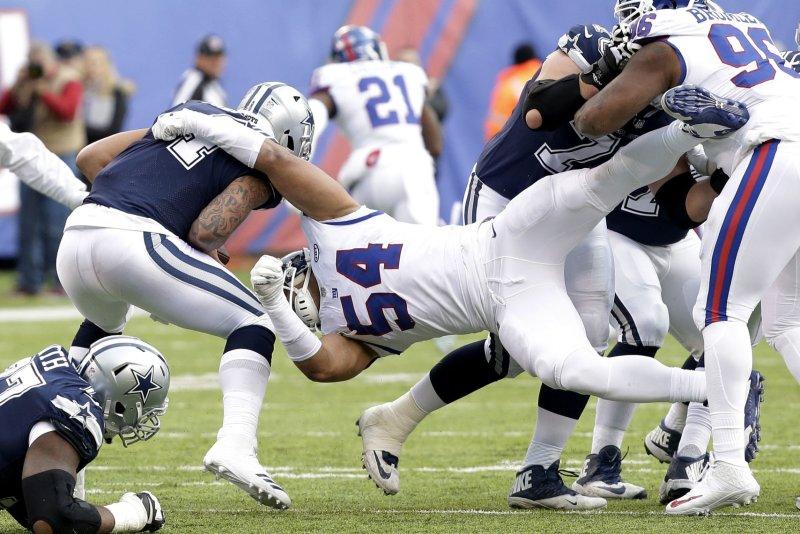 Former New York Giants defensive end Oliver Vernon (54) made the Pro Bowl last season. File Photo by John Angelillo/UPI