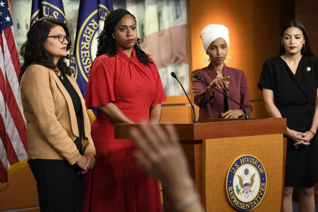 The House voted Tuesday to condemn tweets by President Donald Trump targeting Rep. Rashida Tlaib of Michigan (L), Rep. Ayanna Pressley of Massachusetts (2nd-L), Rep. Ilhan Omar of Minnesota (2nd-R) and Rep. Alexandria Ocasio-Cortez of New York. Photo by Mike Theiler/UPI