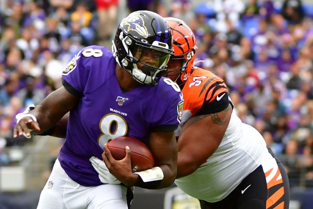 Baltimore Ravens quarterback Lamar Jackson (8) had seven carries for 65 yards and one touchdown through three quarters against the Cincinnati Bengals on Sunday. File Photo by David Tulis/UPI