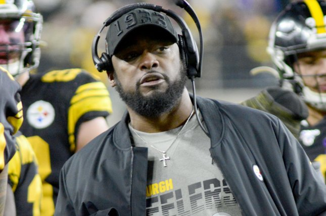 Pittsburgh Steelers head coach Mike Tomlin will be evaluating the play of several former XFL stars during training camp this off-season. File Photo by Archie Carpenter/UPI