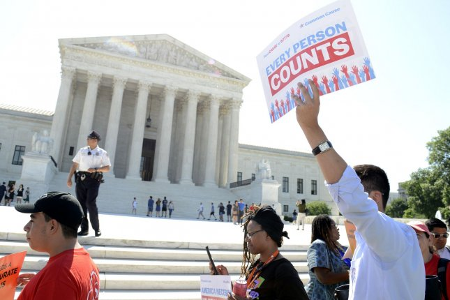 Activists rally in front of the U.S. Supreme Court in Washington, D.C., during a protest to support the inclusion of immigrants in the 2020 Census. File Photo by Mike Theiler/UPI