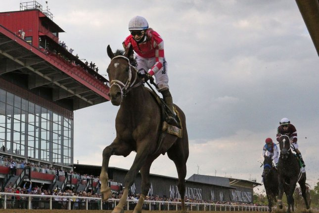 Rombauer, ridden by Flavien Prat, wins the 146th running of the Preakness Stakes at Pimlico Race Course in Baltimore on Saturday. Photo by Mark Abraham/UPI
