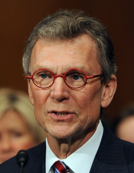 Former Senate Majority Leader Tom Daschle, D-SD, nominated by Presidential-elect Barack Obama to be Secretary of Health and Human Services, appears at his first confirmation hearing before the Senate Health, Education, Labor and Pensions Committee on Capitol Hill in Washington on January 8, 2009. (UPI Photo/Roger L. Wollenberg)
