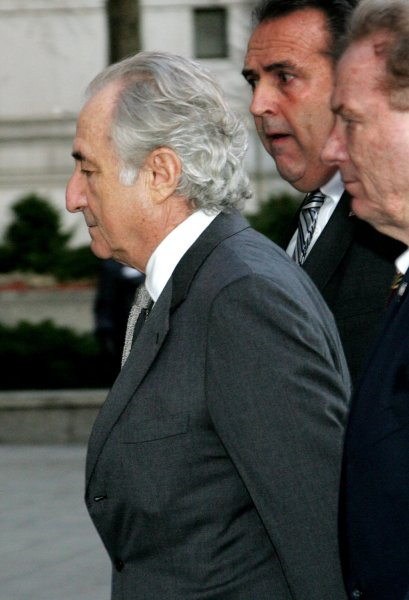 Bernard Madoff arrives at Federal Court where he is expected to plead guilty to securities fraud charges on March 12, 2009 in New York. Victims will also be in court to testify against the disgraced financier who is accused of masterminding a $50 billion Ponzi scheme. UPI/Monika Graff
