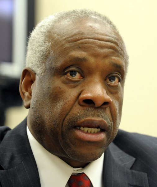 Supreme Court Justice Clarence Thomas appears before a House Appropriations financial services and general government subcommittee about Supreme Court issues on Capitol Hill in Washington on March 13, 2008. (UPI Photo/Roger L. Wollenberg)