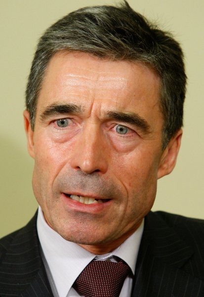 NATO Secretary General Anders Fogh Rasmussen (L) speaks to the media in the Oval Office at the White House on September 29, 2009 in Washington. U.S. President Obama and Rasmussen met to discuss new strategy for the war in Afghanistan. UPI/Alex Wong/POOL