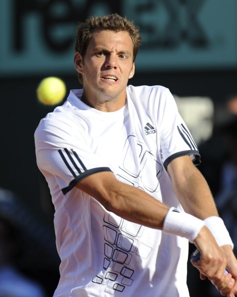 Paul-Henri Mathieu, shown in a 2009 file photo, lost only one game Monday in taking a first-round win at the Monte Carlo Rolex Masters tennis tournament. (UPI Photo/Eco Clement)