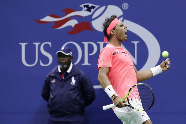 Rafael Nadal celebrates after winning his third-round match against Leonardo Mayer at the 2017 US Open Tennis Championships on Saturday. Photo by John Angelillo/UPI