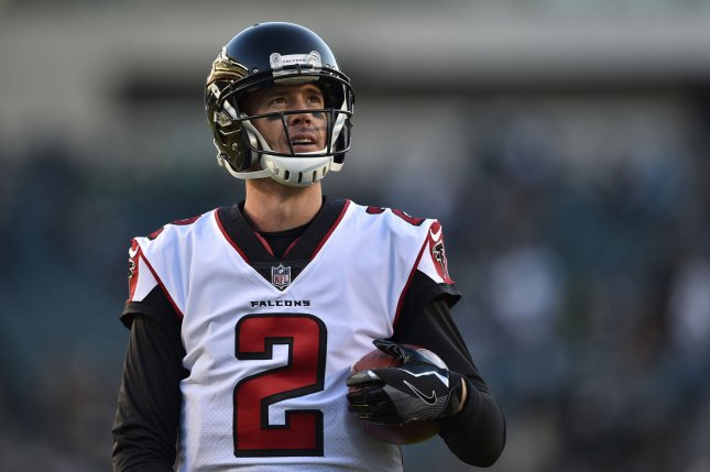 Atlanta Falcons quarterback Matt Ryan stands on the sidelines prior to an NFC playoff game against the Philadelphia Eagles in January. Photo by Derik Hamilton/UPI
