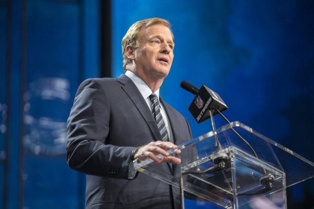 NFL Commissioner Roger Goodell announces the start of the 2018 NFL Draft on April 26, 2018 at AT&T Stadium in Arlington, Texas. Photo by Sergio Flores/UPI