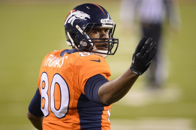 Former Denver Broncos tight end Julius Thomas (80) looks back during Super Bowl XLVIII on February 2, 2014 at MetLife Stadium in East Rutherford, New Jersey. File photo by Rich Kane/UPI