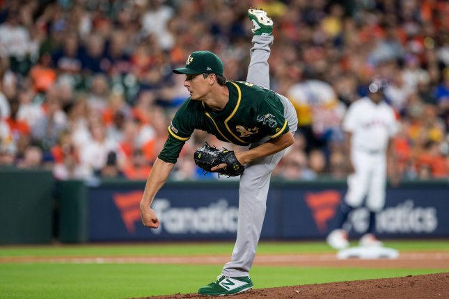 Homer Bailey posted a 13-9 record and a 4.57 ERA while splitting time with the Oakland Athletics and Kansas City Royals last season. Photo by Trask Smith/UPI