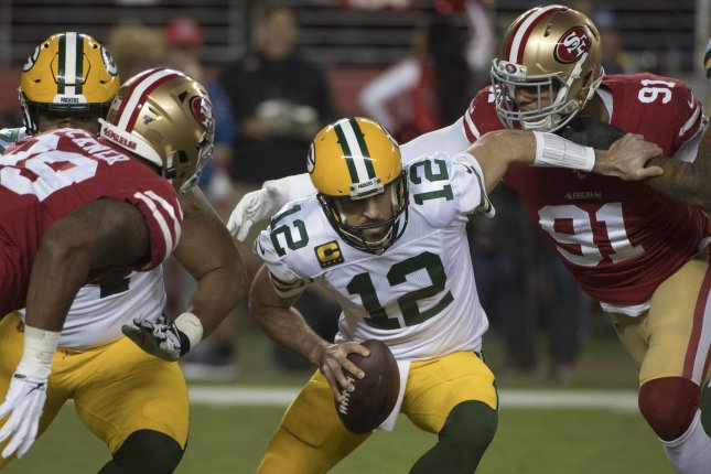 The Green Bay Packers will need to protect quarterback Aaron Rodgers (12) from the San Francisco 49ers' dominant pass rush if they hope to advance to Super Bowl LIV. Photo by Terry Schmitt/UPI
