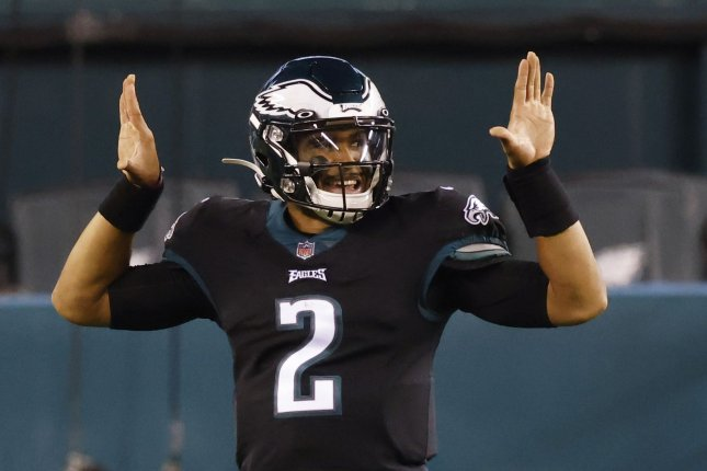 Philadelphia Eagles rookie quarterback Jalen Hurts celebrates after throwing a 15-yard touchdown pass in the second quarter of Sunday's win over the New Orleans Saints. Photo by John Angelillo/UPI