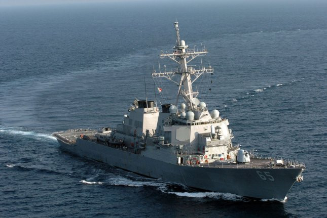 The guided missile destroyer USS Benfold, pictured, transited the Taiwan Strait on Wednesday, marking the seventh trip through the water by American warships this year. File Photo by James Pinsky/UPI