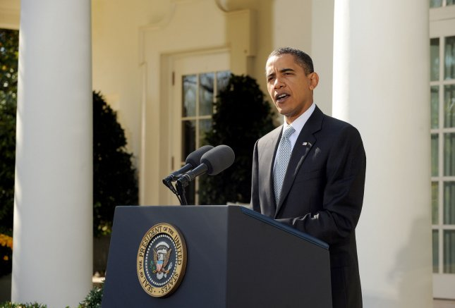 U.S. President Barack Obama makes a statement regarding the shootings at Fort Hood and on the economy in the Rose Garden of the White House in Washington on November 6, 2009. UPI/Roger L. Wollenberg