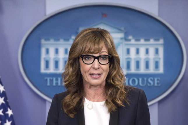 Actress Allison Janney, who played press secretary C.J. Cregg on The West Wing made a guest appearance Friday at the White House press briefing to bring attention to the opioid drug epidemic. Photo by Kevin Dietsch/UPI Photo by Kevin Dietsch/UPI