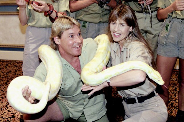 Steve Irwin (L) and wife Terri Irwin promote The Crocodile Hunter Collision Course in Las Vegas on March 5, 2002. File Photo by Roger Williams/UPI